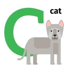 English animals zoo alphabet letter c vector