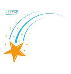 Falling flying star comet with tail and stardust vector