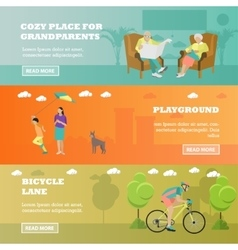 Family concept banner Seniors mother spend time vector image
