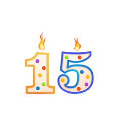 fifteen years anniversary 15 number shaped vector image