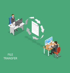 File transfer flat isometric concept vector