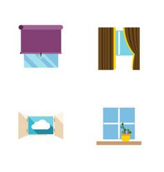 Flat icon frame set of flowerpot glazing cloud vector