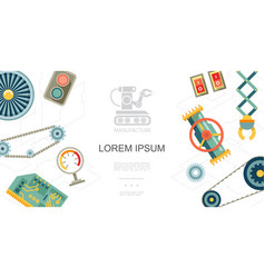 flat industrial production line parts concept vector image