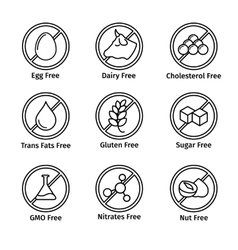 Food diet and gmo free icons set in line design vector