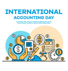 Global accounting day banner outline style vector