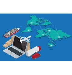 Global logistics network Concept of air cargo vector