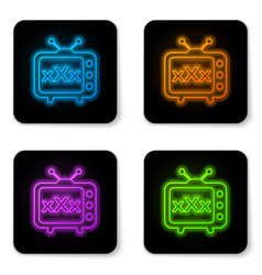 glowing neon xxx tv old television icon isolated vector image