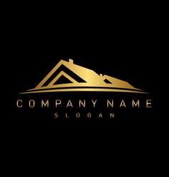 Gold real estate logo vector
