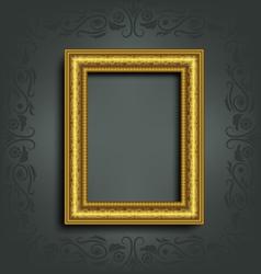 Golden frame on grey vector