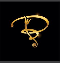 Golden initial cursive letter b vector