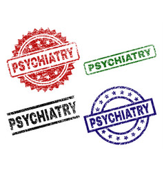 Grunge textured psychiatry seal stamps vector