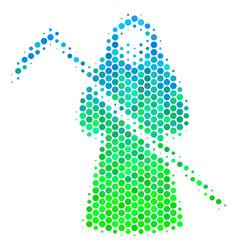 Halftone blue-green death scytheman icon vector