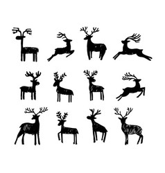 hand drawn christmas deer vector image