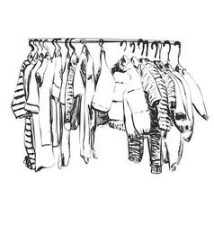 Hand drawn wardrobe sketch baby clothes on vector