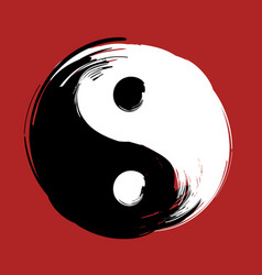 Hand drawn with brush swirl spiral yin yang symbol vector