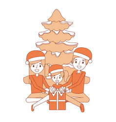 Happy familiy the parents and child with christmas vector