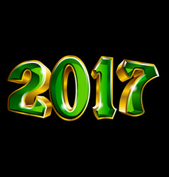 happy new year 2017 3d like gold text design vector image