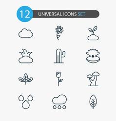 harmony icons set with foliage raindrop shrub vector image