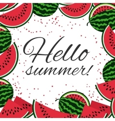 Hello summer with watermelons background vector image