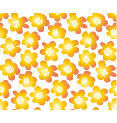 Hot orange color summer floral in retro 60s style vector