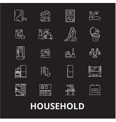 household editable line icons set on black vector image