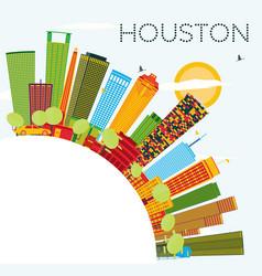 Houston skyline with color buildings blue sky vector