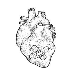 Human heart patch sketch vector