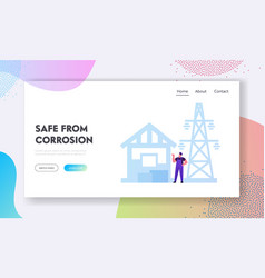 Industrial use aluminium landing page template vector