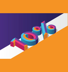 isometric 10 percent off 3d sale background vector image
