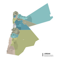 Jordan higt detailed map with subdivisions vector