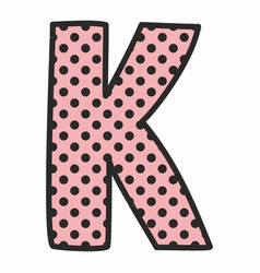 K alphabet letter with black polka dots on pink vector