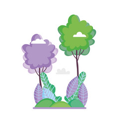 landscape trees grass nature foliage ecology vector image