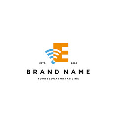 Letter e wireless logo design vector