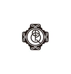 letter p q boutique logo vector image