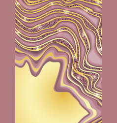 luxury pink and gold marbling template vector image