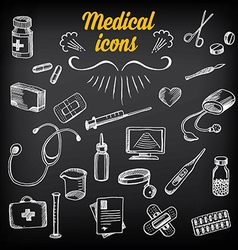 Medical icons sketch design Healthcare drawing vector