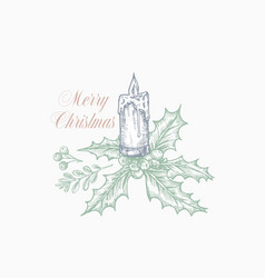 merry christmas greeting card or label hand drawn vector image