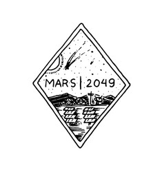 mission of mars logo exploration of the vector image