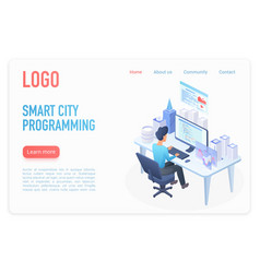 Modern business solutions landing page isometric vector