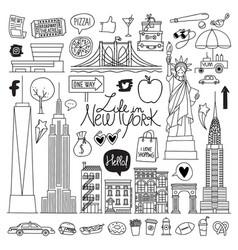 New york hand drawn set vector
