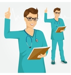 nurse or doctor with glasses pointing vector image
