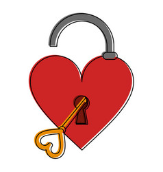 open heart shape safety lock with key valentines vector image