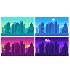 Pixel art cityscape town street 8 bit city vector