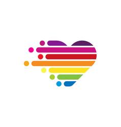 Pixel art love logo icon design vector