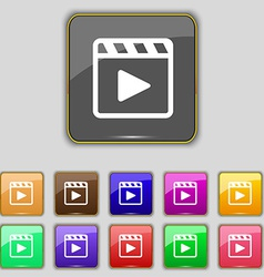 Play video icon sign Set with eleven colored vector image