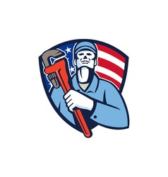 Plumber Holding Wrench USA Flag Shield Retro vector image