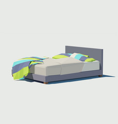 polygonal double bed with colorful pillows vector image