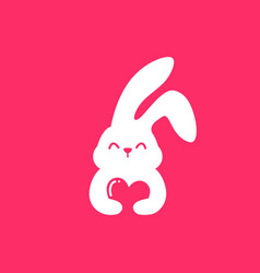 rabbit love hare bunny cute smile hug lover vector image