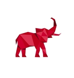 Red Elephant standing with trunk up Polygon style vector