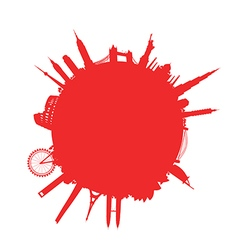 Red round cityscape vector
